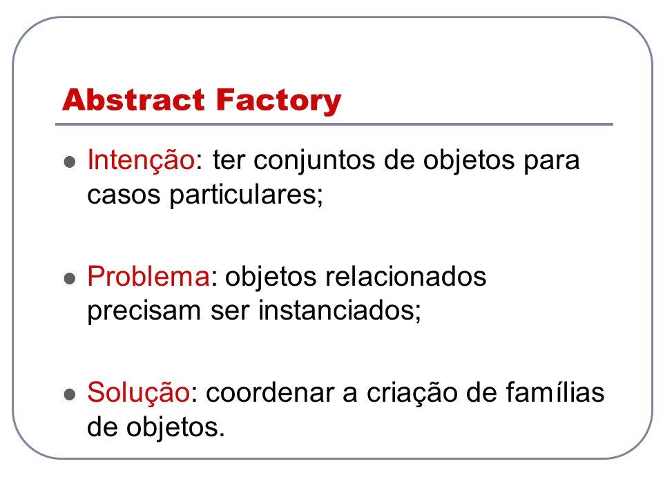 Abstract Factory Intenção: ter conjuntos de objetos para casos particulares; Problema: objetos relacionados precisam ser instanciados;