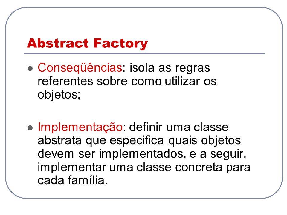 Abstract Factory Conseqüências: isola as regras referentes sobre como utilizar os objetos;