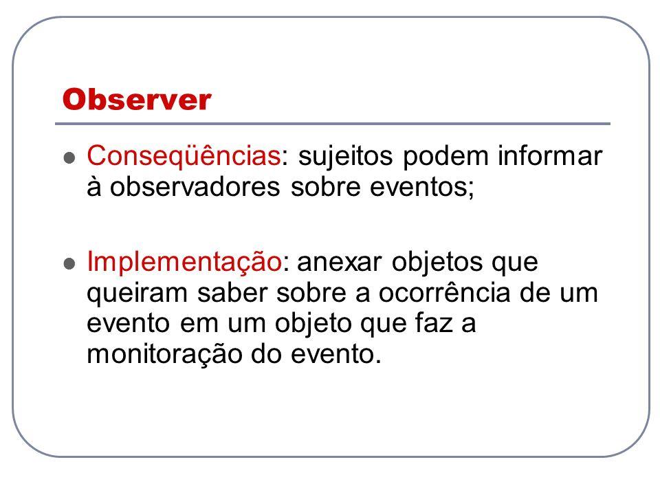 Observer Conseqüências: sujeitos podem informar à observadores sobre eventos;