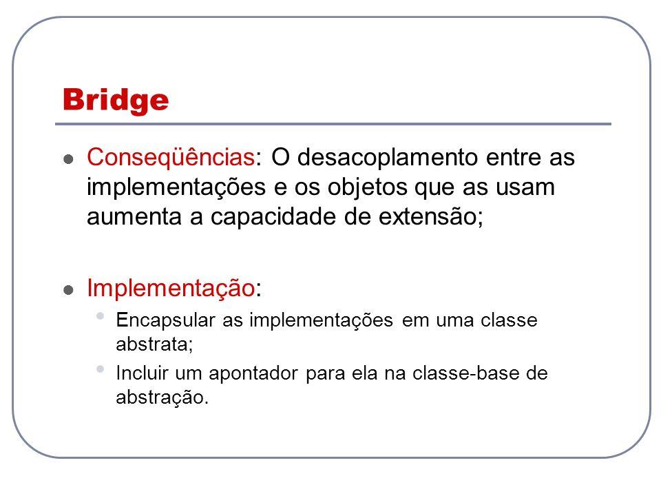 Bridge Conseqüências: O desacoplamento entre as implementações e os objetos que as usam aumenta a capacidade de extensão;