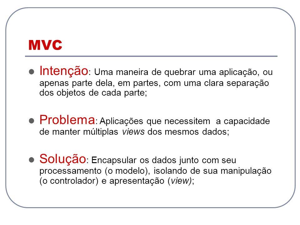 MVC Intenção: Uma maneira de quebrar uma aplicação, ou apenas parte dela, em partes, com uma clara separação dos objetos de cada parte;
