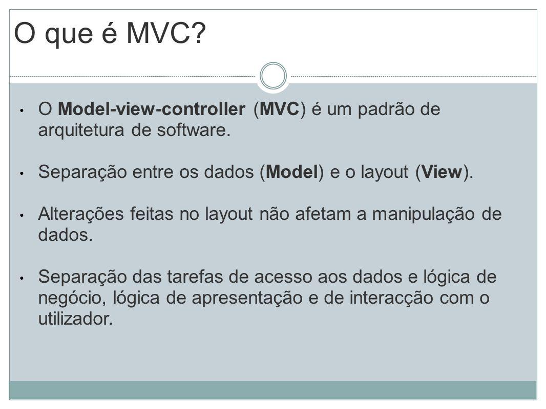 O que é MVC O Model-view-controller (MVC) é um padrão de arquitetura de software. Separação entre os dados (Model) e o layout (View).