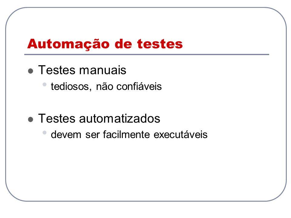 Automação de testes Testes manuais Testes automatizados