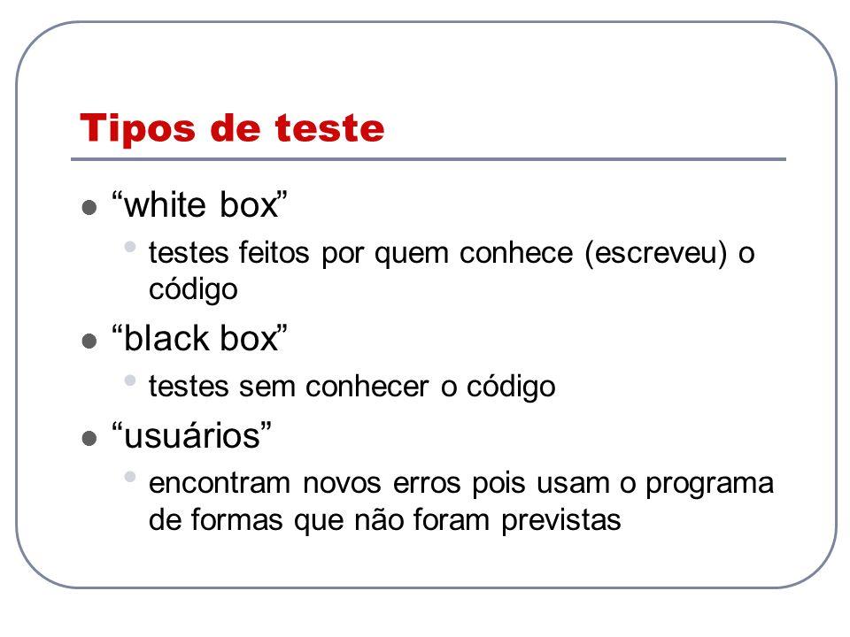 Tipos de teste white box black box usuários