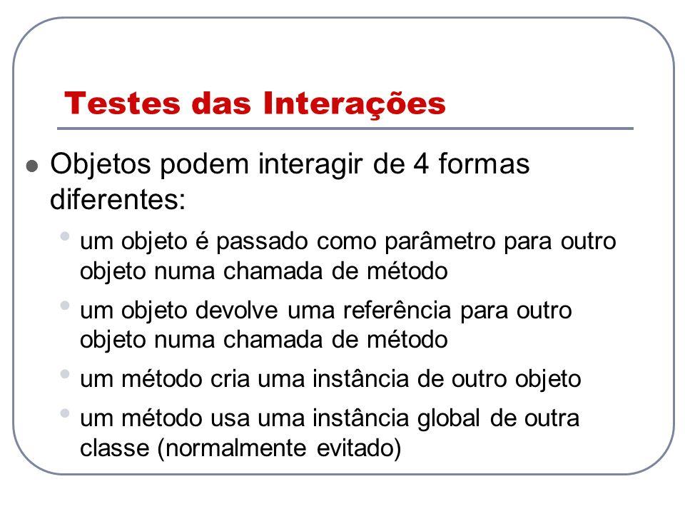 Testes das Interações Objetos podem interagir de 4 formas diferentes:
