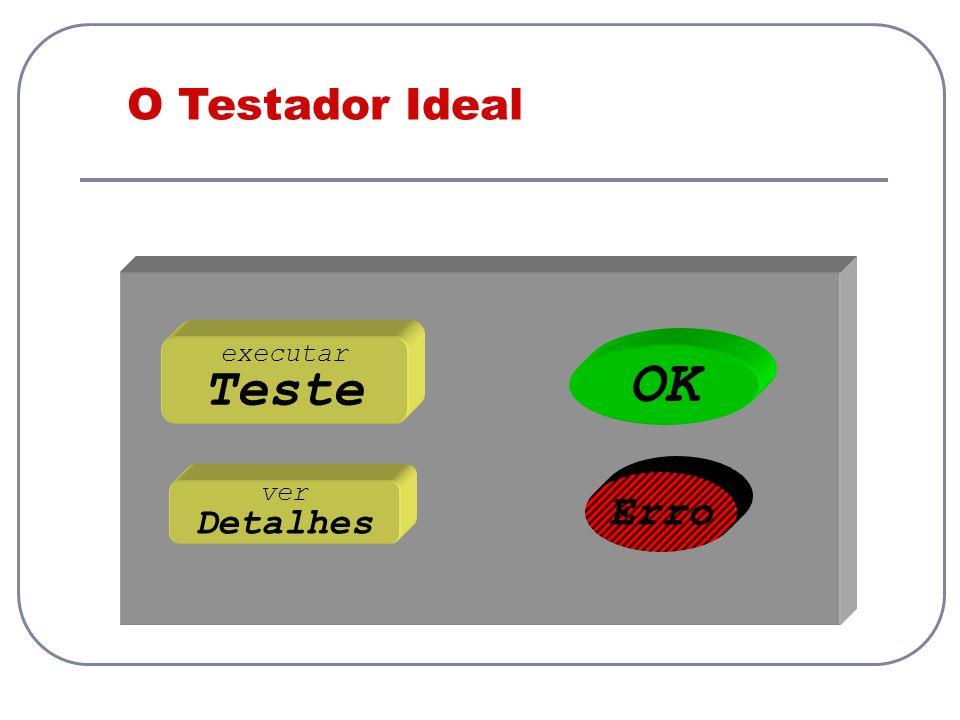 O Testador Ideal executar Teste OK Erro ver Detalhes