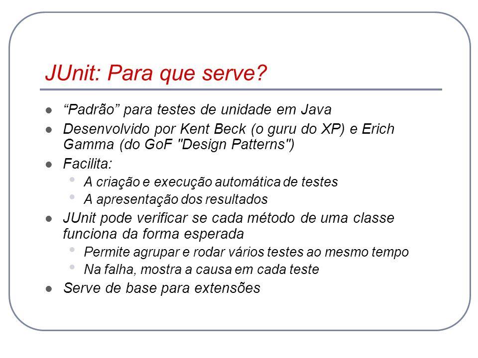 JUnit: Para que serve Padrão para testes de unidade em Java