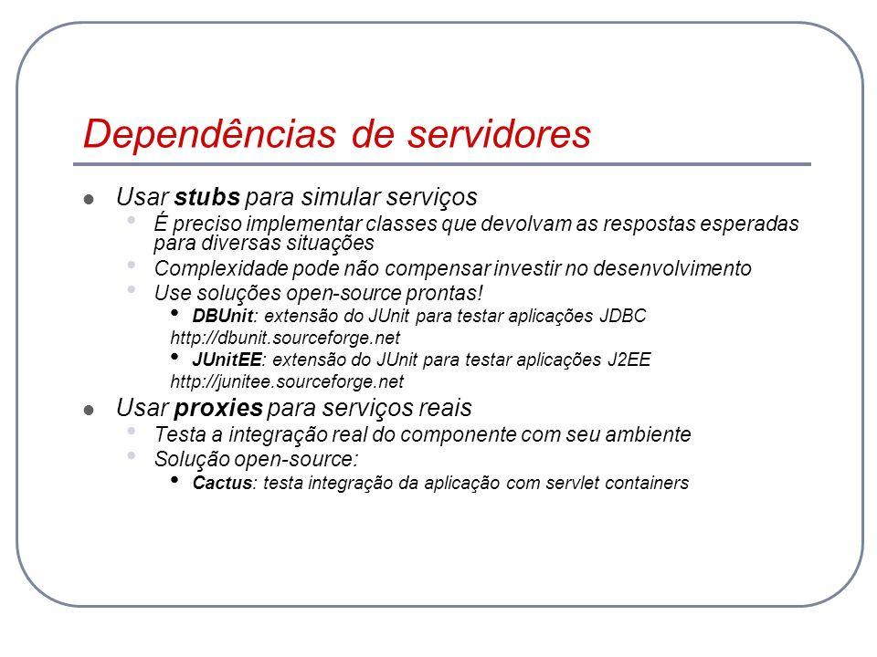 Dependências de servidores