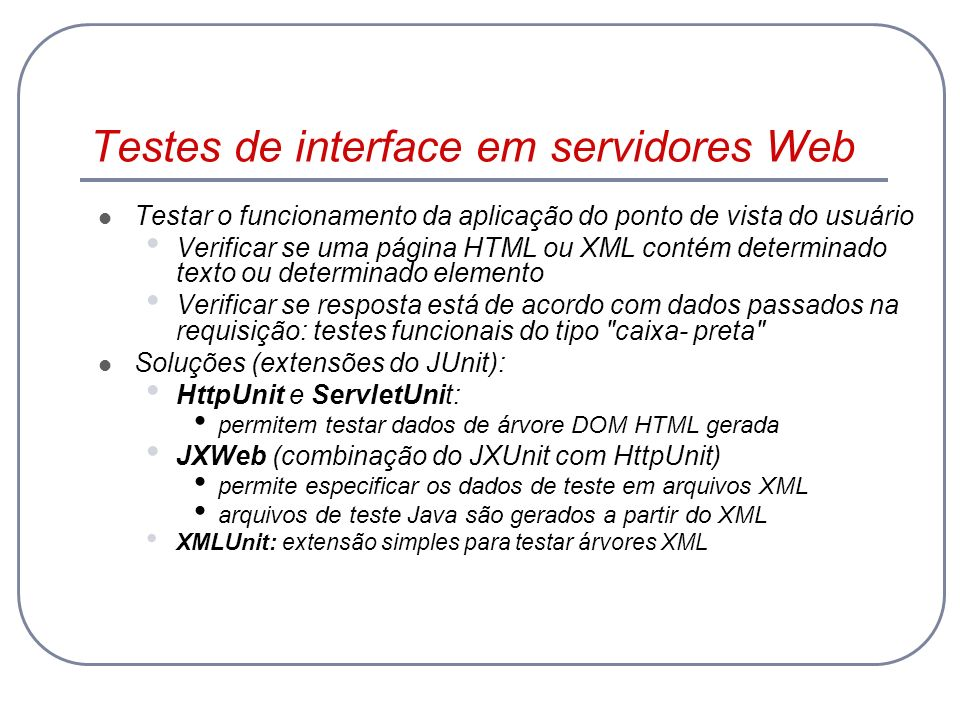 Testes de interface em servidores Web