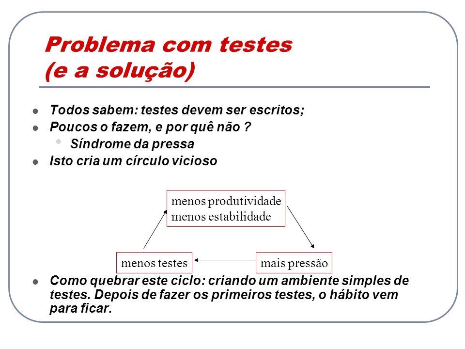 Problema com testes (e a solução)