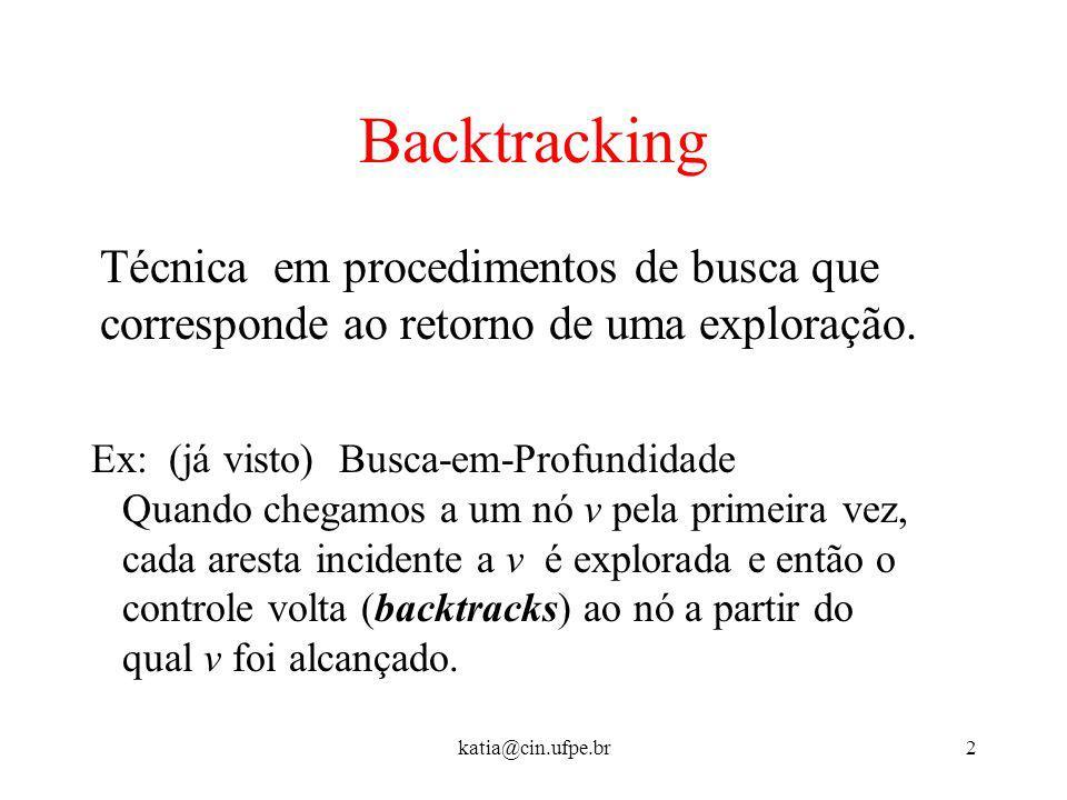 Backtracking Técnica em procedimentos de busca que corresponde ao retorno de uma exploração. Ex: (já visto) Busca-em-Profundidade.
