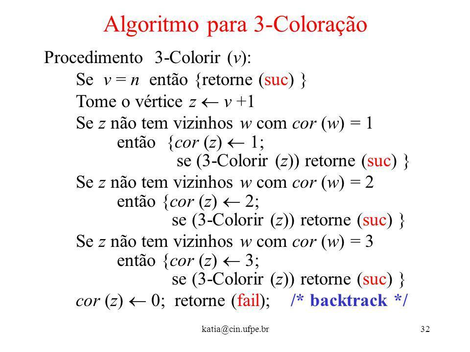 Algoritmo para 3-Coloração