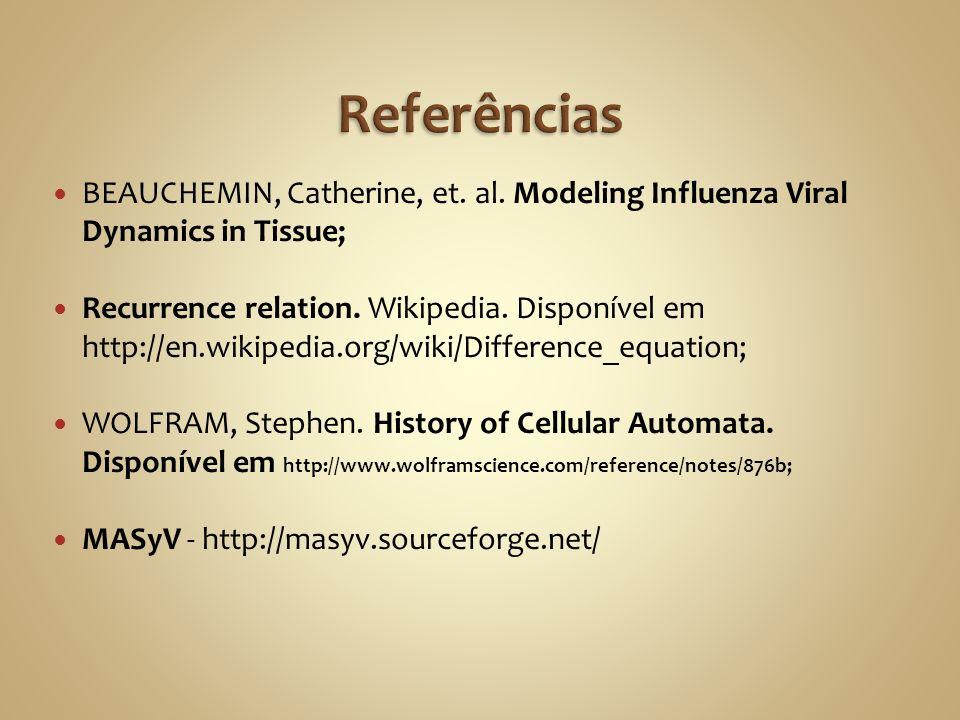 ReferênciasBEAUCHEMIN, Catherine, et. al. Modeling Influenza Viral Dynamics in Tissue;