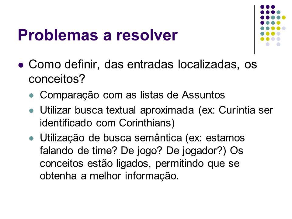 Problemas a resolver Como definir, das entradas localizadas, os conceitos Comparação com as listas de Assuntos.