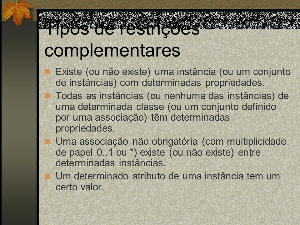 Tipos de restrições complementares