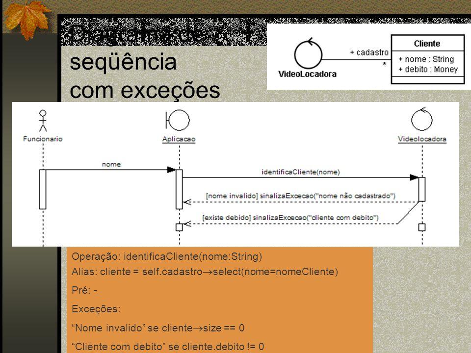 Diagrama de seqüência com exceções