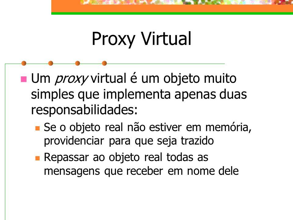 Proxy Virtual Um proxy virtual é um objeto muito simples que implementa apenas duas responsabilidades: