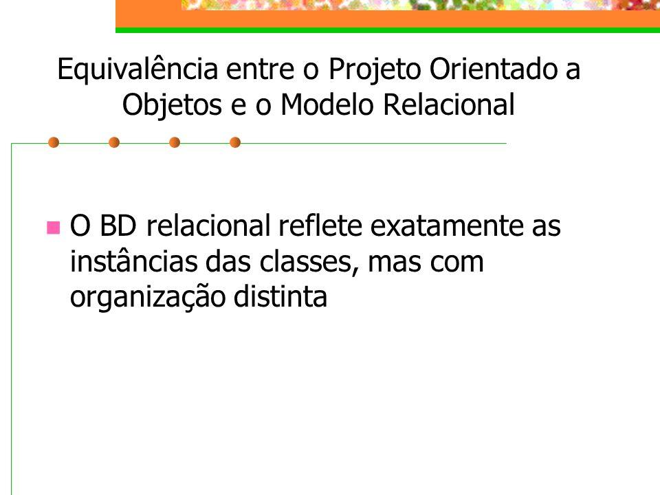 Equivalência entre o Projeto Orientado a Objetos e o Modelo Relacional