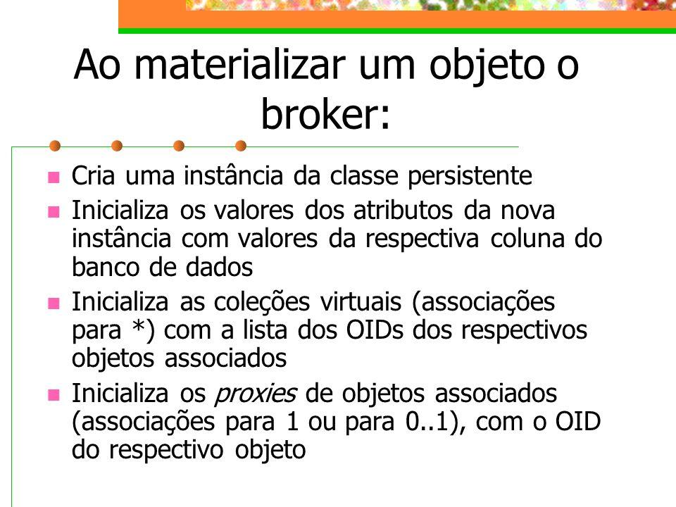 Ao materializar um objeto o broker: