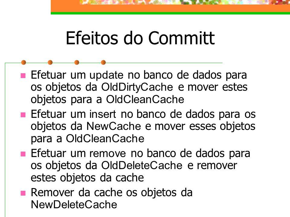 Efeitos do Committ Efetuar um update no banco de dados para os objetos da OldDirtyCache e mover estes objetos para a OldCleanCache.