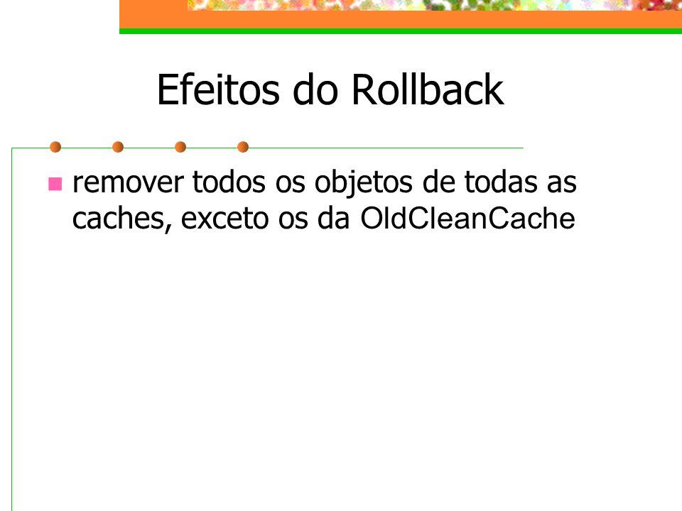 Efeitos do Rollback remover todos os objetos de todas as caches, exceto os da OldCleanCache