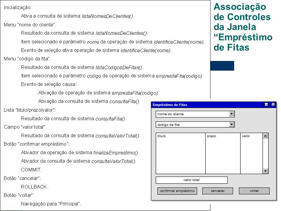Associação de Controles da Janela Empréstimo de Fitas