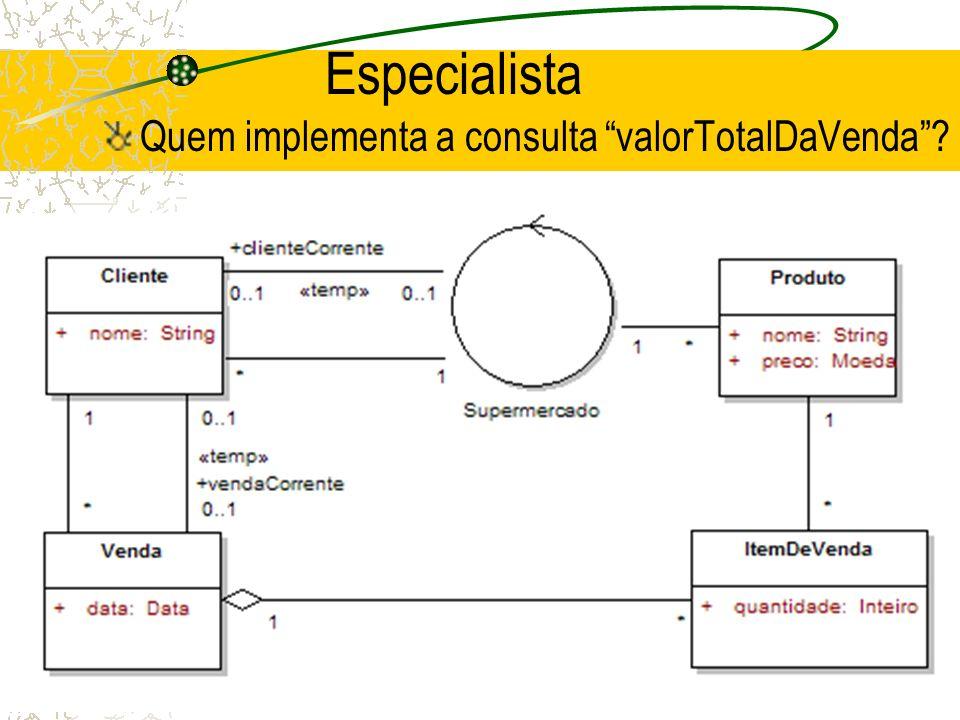 Especialista Quem implementa a consulta valorTotalDaVenda