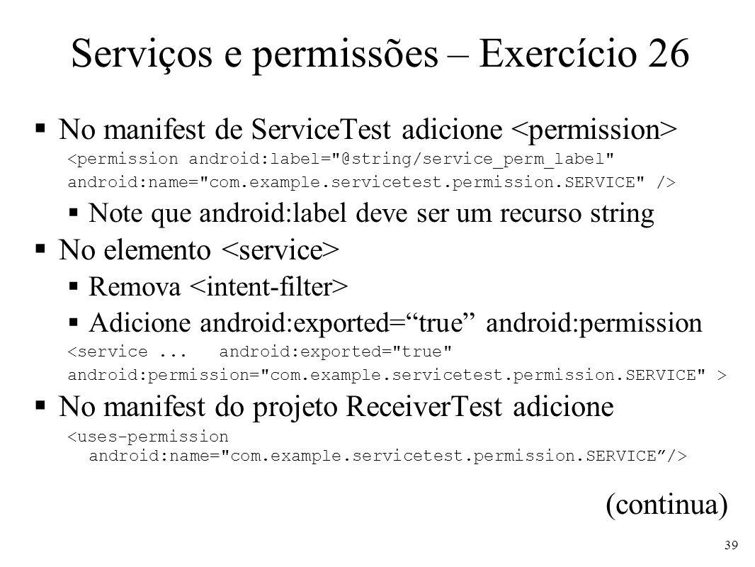 Serviços e permissões – Exercício 26