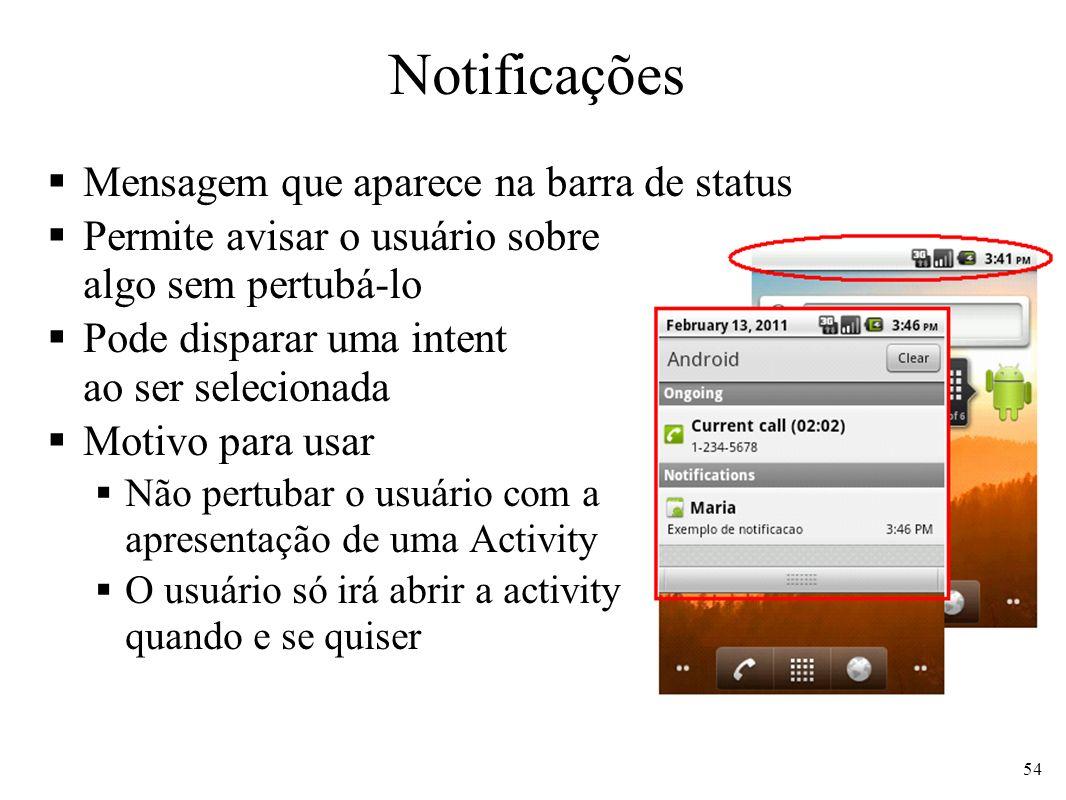 Notificações Mensagem que aparece na barra de status