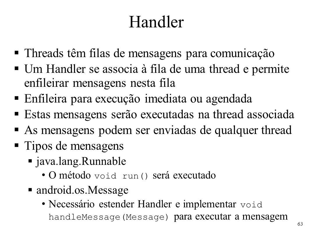 Handler Threads têm filas de mensagens para comunicação