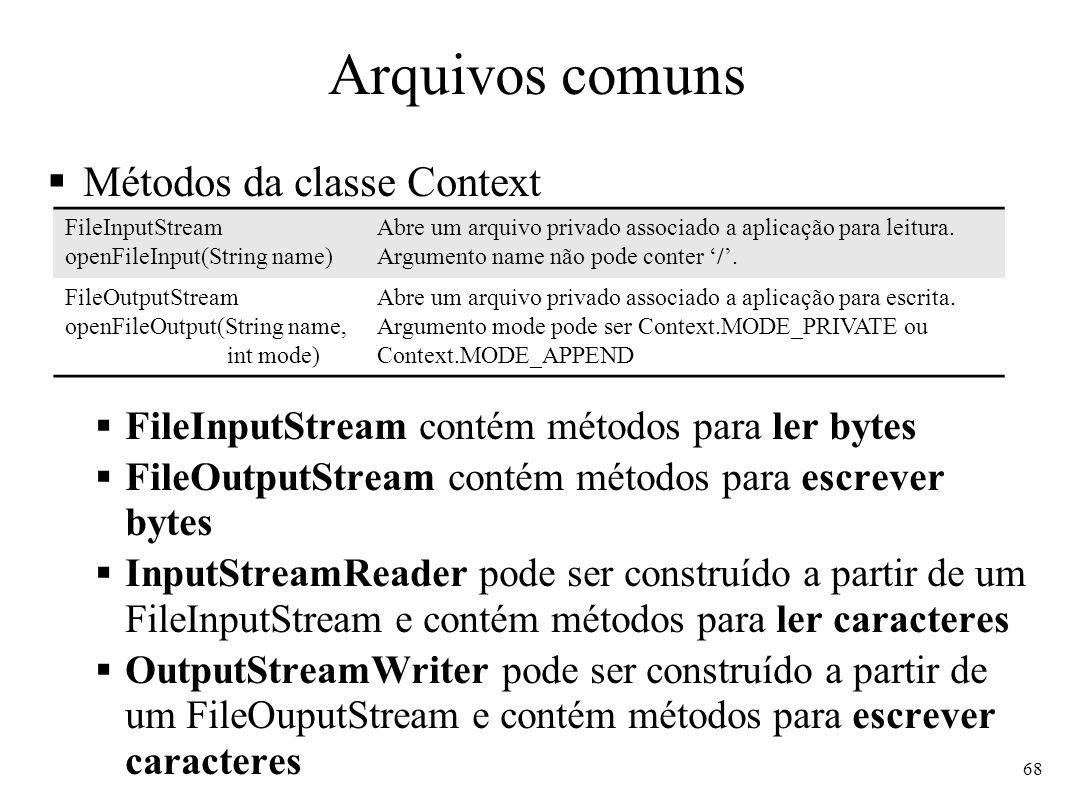 Arquivos comuns Métodos da classe Context