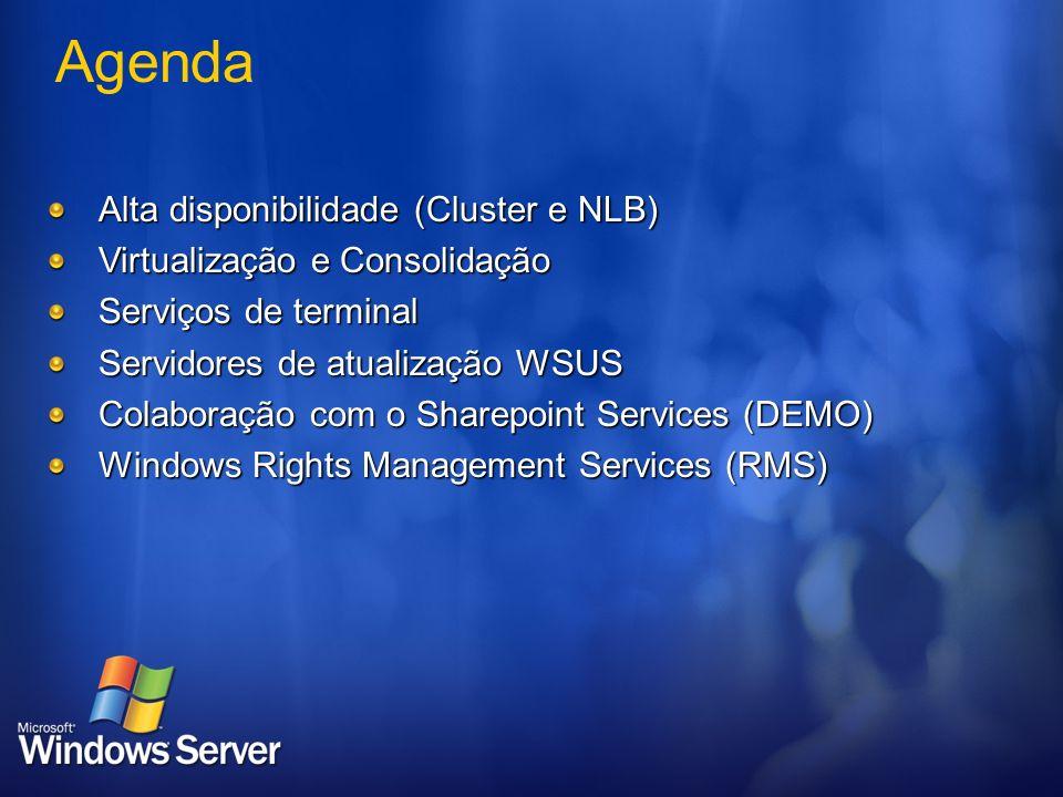 Agenda Alta disponibilidade (Cluster e NLB)