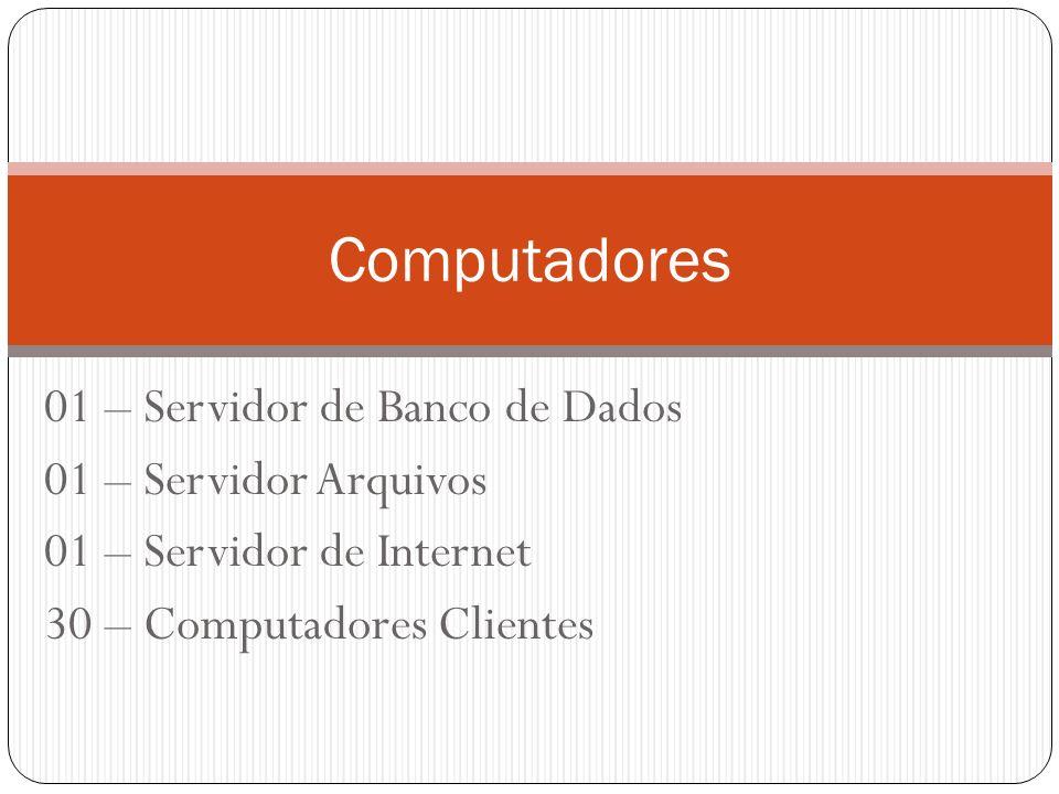 Computadores 01 – Servidor de Banco de Dados 01 – Servidor Arquivos