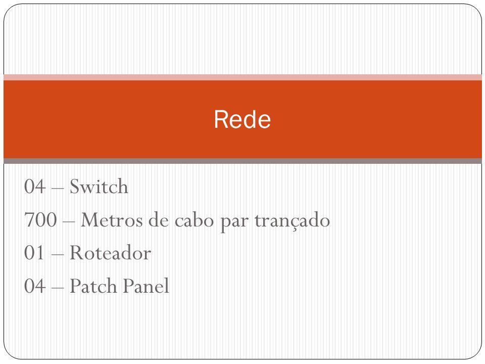 Rede 04 – Switch 700 – Metros de cabo par trançado 01 – Roteador