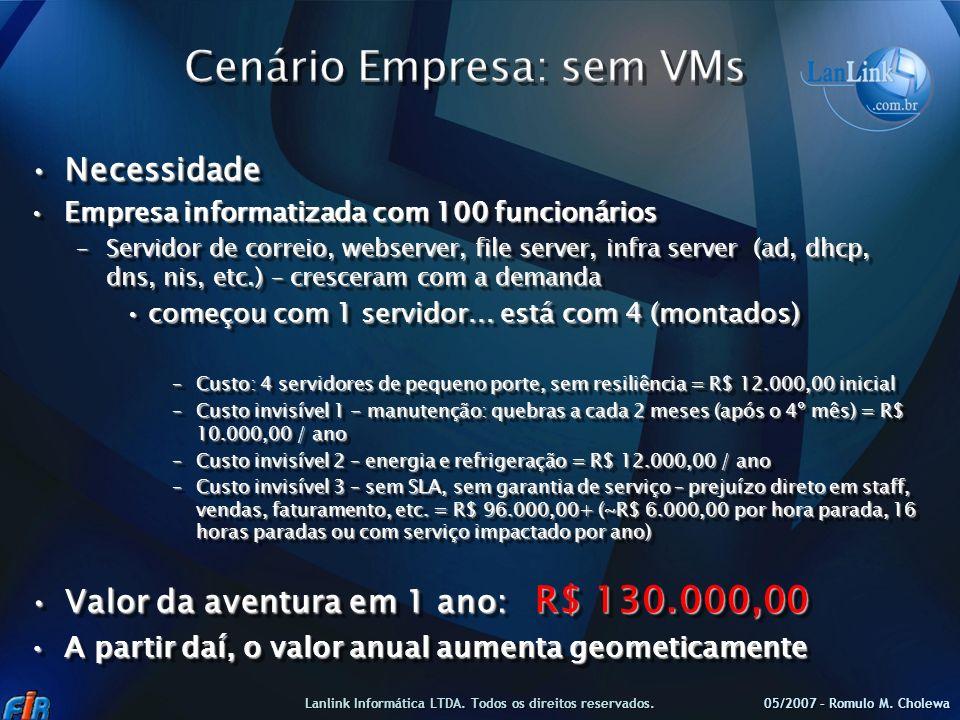 Cenário Empresa: sem VMs
