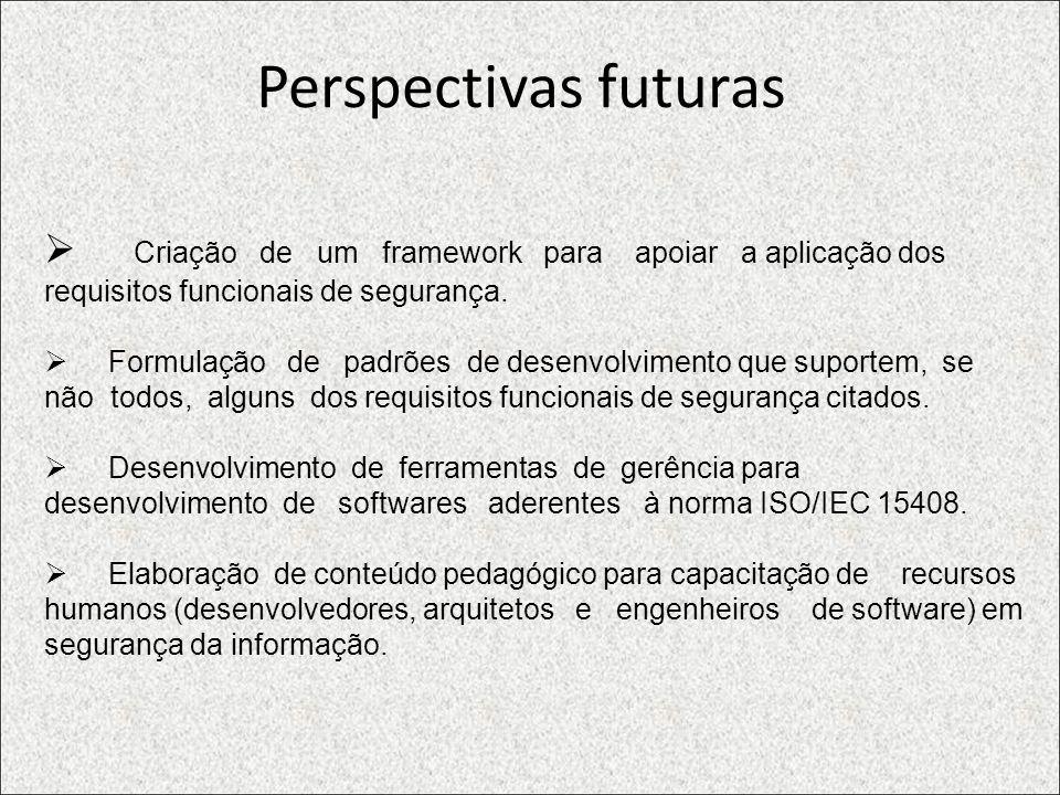 Perspectivas futuras Criação de um framework para apoiar a aplicação dos requisitos funcionais de segurança.