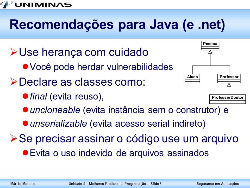 Recomendações para Java (e .net)