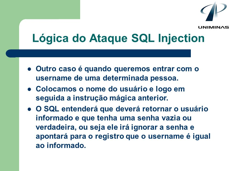 Lógica do Ataque SQL Injection