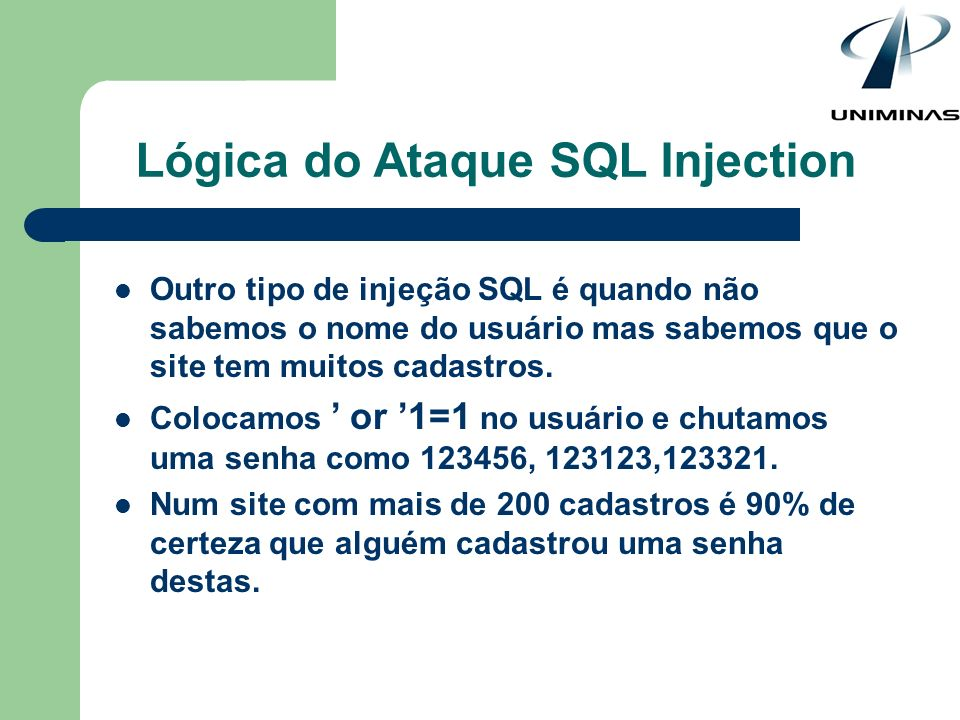 Lógica do Ataque SQL Injection