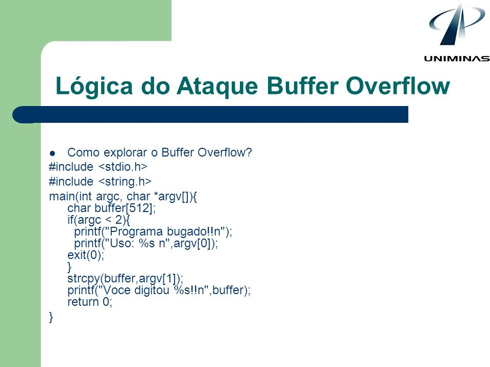 Lógica do Ataque Buffer Overflow