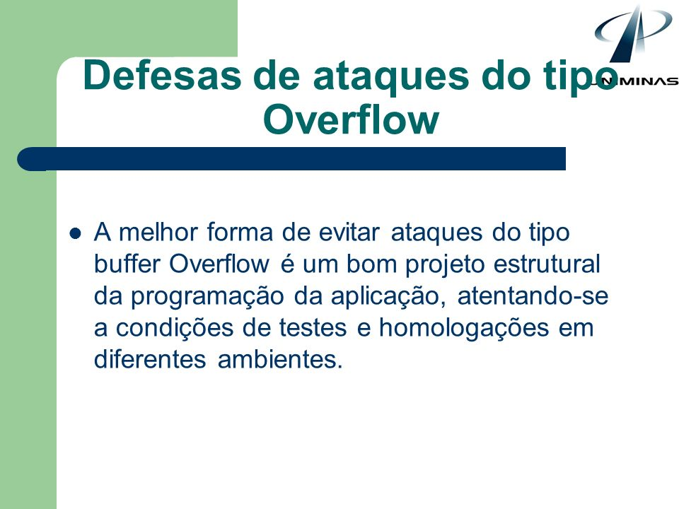 Defesas de ataques do tipo Overflow