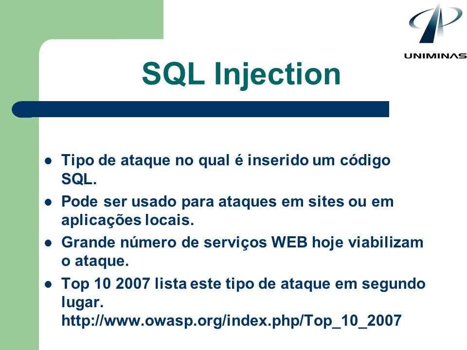SQL Injection Tipo de ataque no qual é inserido um código SQL.