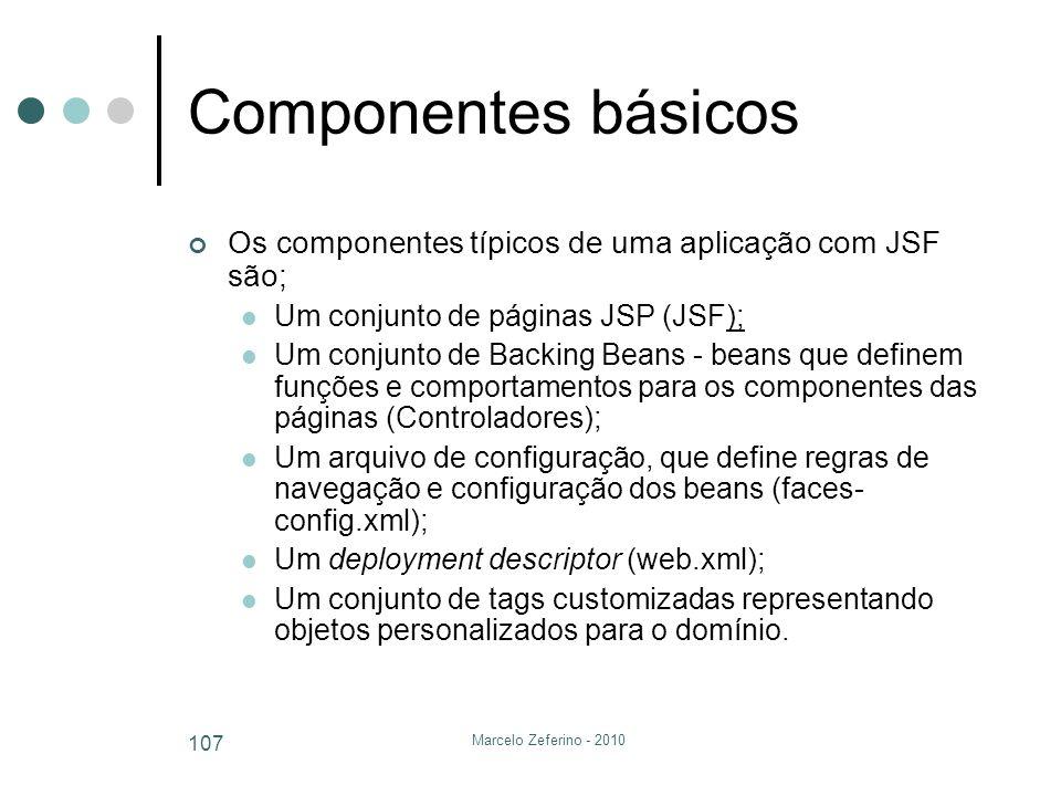 Componentes básicos Os componentes típicos de uma aplicação com JSF são; Um conjunto de páginas JSP (JSF);