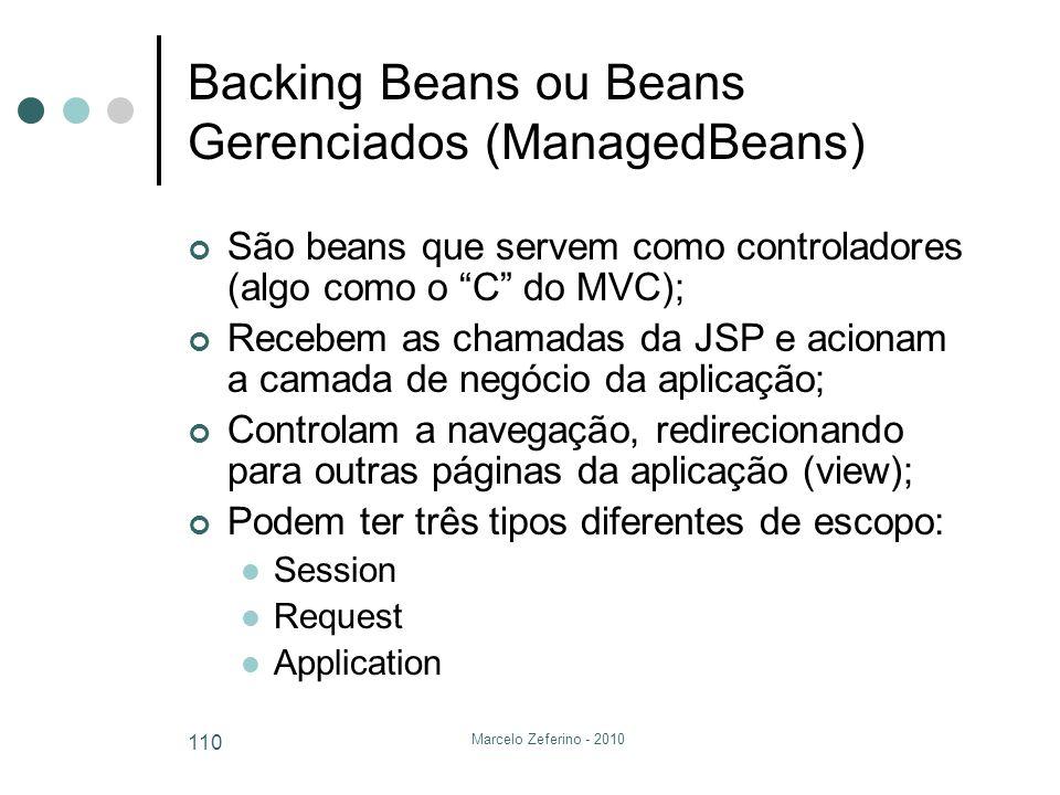 Backing Beans ou Beans Gerenciados (ManagedBeans)