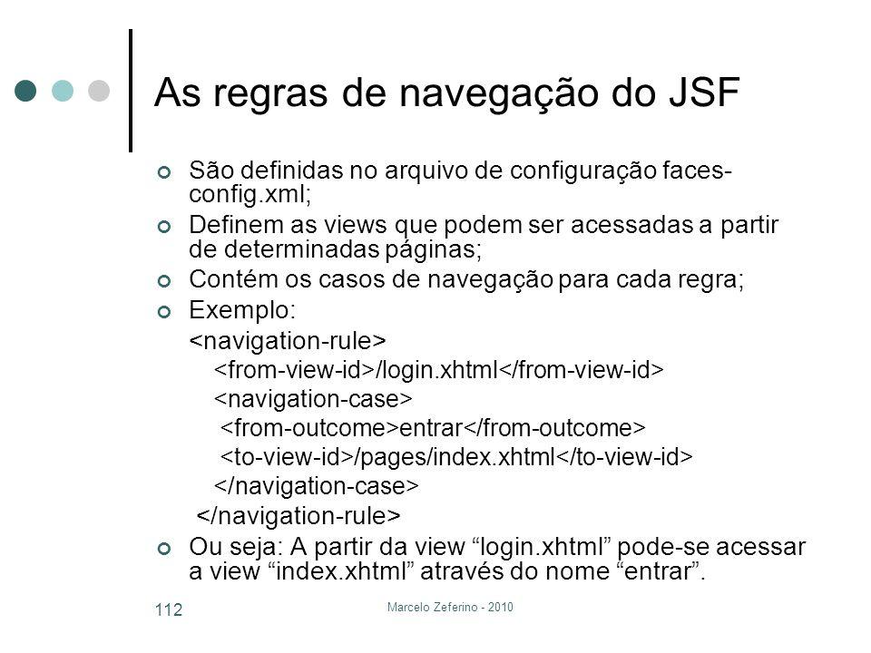 As regras de navegação do JSF