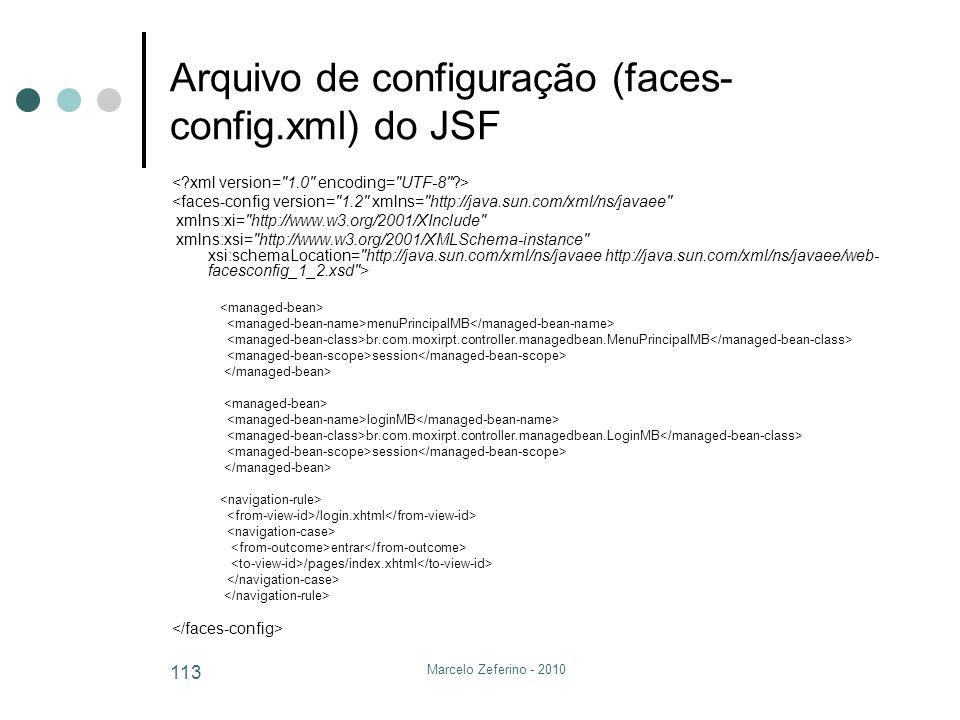 Arquivo de configuração (faces-config.xml) do JSF