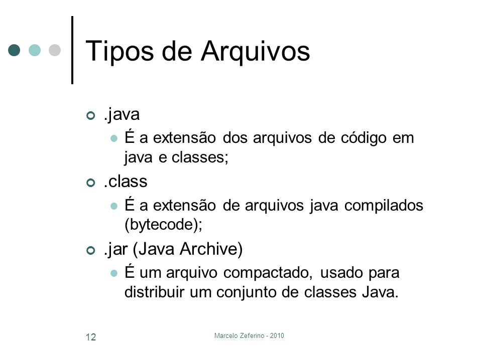 Tipos de Arquivos .java .class .jar (Java Archive)