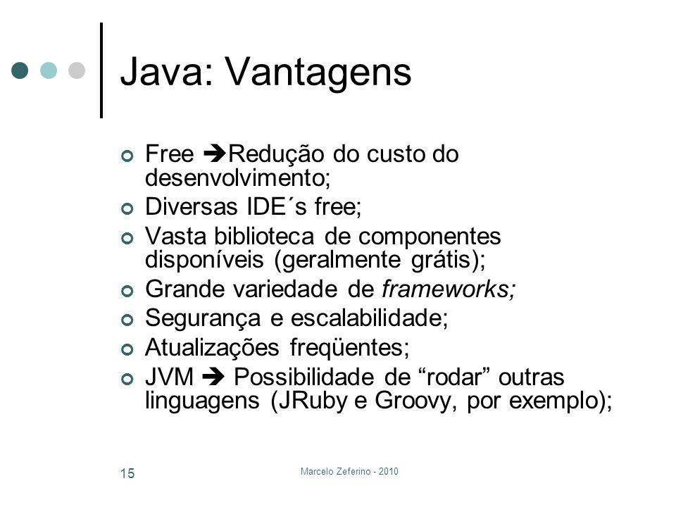 Java: Vantagens Free Redução do custo do desenvolvimento;