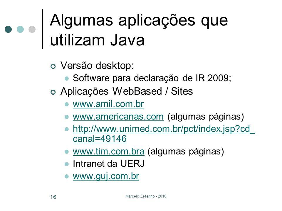 Algumas aplicações que utilizam Java