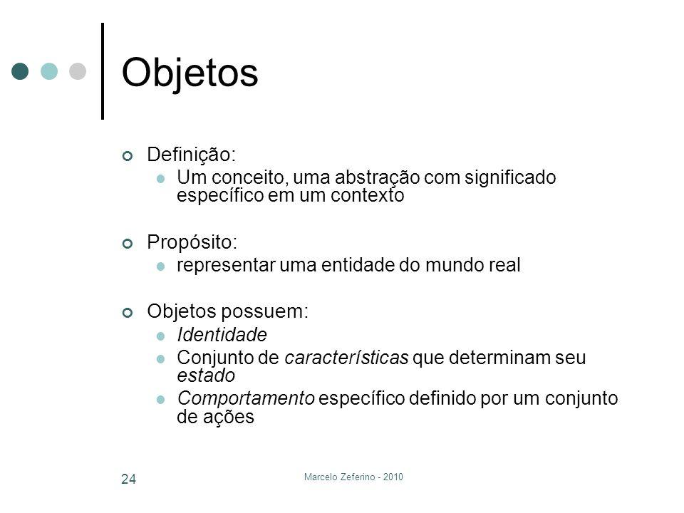 Objetos Definição: Propósito: Objetos possuem:
